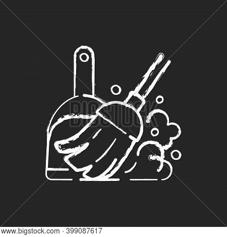 Sweeping Floor Chalk White Icon On Black Background. Household Chore, Indoor Cleanup. Housekeeping T