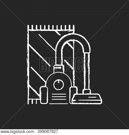 Vacuuming Chalk White Icon On Black Background. Electronic Household Appliance For Convenient Home C