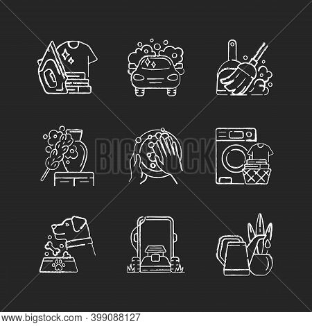 Cleaning Chores Chalk White Icons Set On Black Background. Housekeeping Tasks. Housemaid Services, H