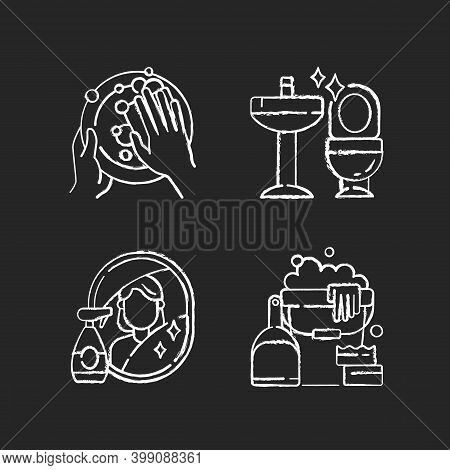 Housewife Chores Chalk White Icons Set On Black Background. Dish Washing, Toilet Cleanup, Mirror Was