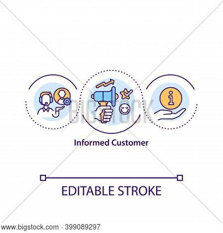 Informed Customer Concept Icon. Consumer Protection. Commercial Promotion Service. Smart Shopping Ti