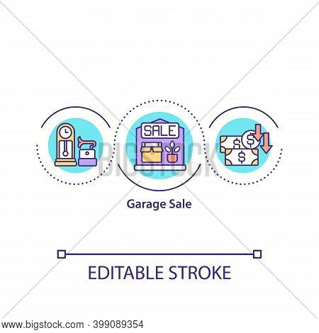 Garage Sale Concept Icon. Private Auction In Neighborhood. Sell Second Hand Goods. Smart Shopping Ti