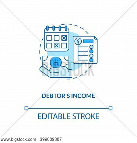 Debtor Income Blue Concept Icon. Monthly Credit Repayment. Borrower Budget. Debtor Accounting. Bankr