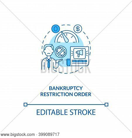 Bankruptcy Restriction Order Blue Concept Icon. Financial Crisis. Legal Restriction. Debtor With Mor