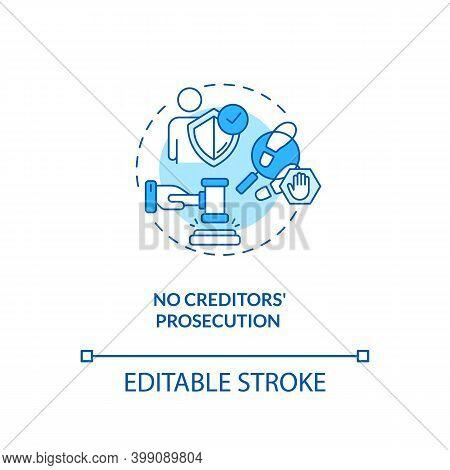 No Creditors Prosecution Blue Concept Icon. Prevent Legal Act. No Financial Crisis. Debt Free. Bankr