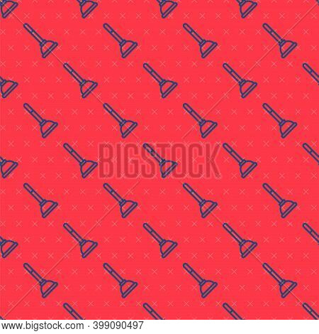 Blue Line Rubber Plunger With Wooden Handle For Pipe Cleaning Icon Isolated Seamless Pattern On Red