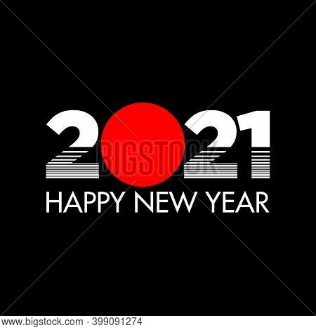 Happy New Year 2021 Tokyo Style On Black Background. Happy New Year 2021 Vector Background Illustrat