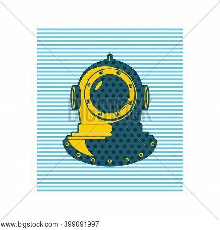 Underwater Helmet Pop Art Illustration. Old Diving Helmet. Vector Illustration