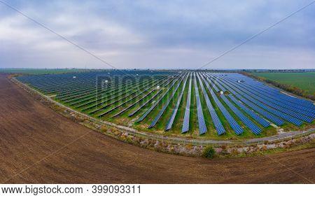 Power Plant Using Renewable Solar Energy. Aerial Drone Shot