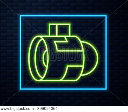 Glowing Neon Line Jet Engine Turbine Icon Isolated On Brick Wall Background. Plane Turbine. Airplane