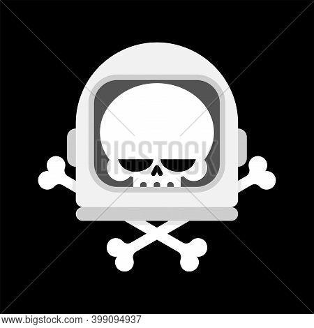 Skull In Astronaut Helmet Isolated. Skeleton Head In Spaceman Helmet. Vector Illustration