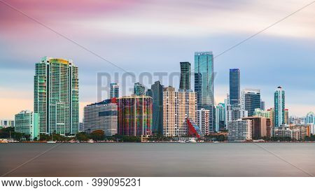 Miami, Florida, USA downtown city skyline on Biscayne Bay at twilight.