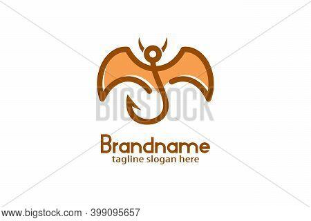 Winged Fishhook Devil Logo, Flying Fishhook Logo With Winged Devil Design Concept. Abstract Line Sty