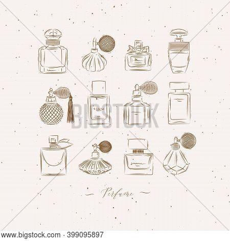 Perfume Bottles For Fragrance Set Drawing In Vintage Style On Beige Background