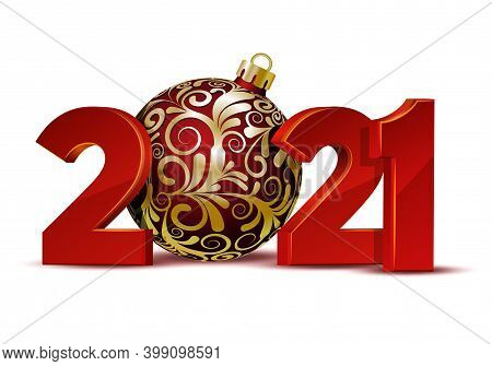 Red Numbers Design Of Greeting Card With Red Christmas Ball