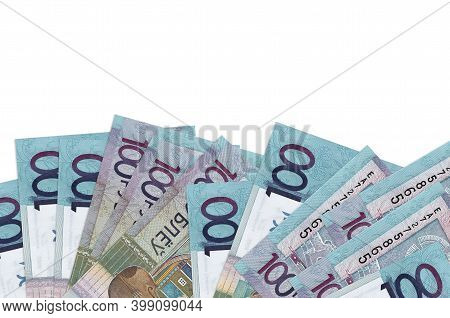 100 Belorussian Rubles Bills Lies On Bottom Side Of Screen Isolated On White Background With Copy Sp