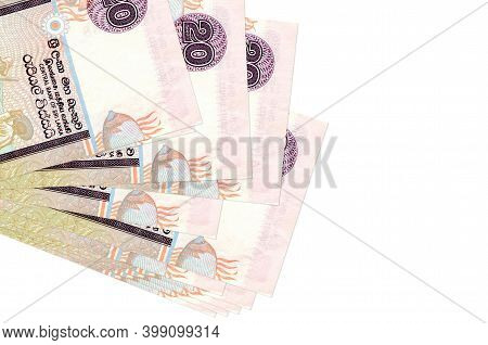 20 Sri Lankan Rupees Bills Lies In Small Bunch Or Pack Isolated On White. Mockup With Copy Space. Bu