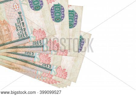 1000 Sri Lankan Rupees Bills Lies In Small Bunch Or Pack Isolated On White. Mockup With Copy Space.