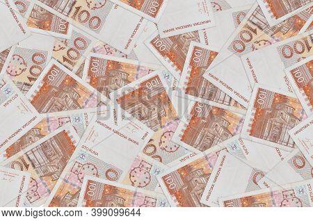 100 Croatian Kuna Bills Lies In Big Pile. Rich Life Conceptual Background