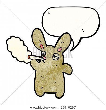 rabbit smoking cigarette cartoon poster