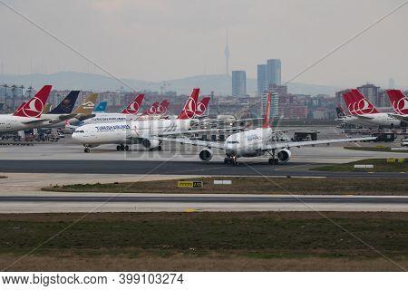 Istanbul / Turkey - March 27, 2019: Turkish Airlines Airbus A330-200 Tc-jna Passenger Plane Departur