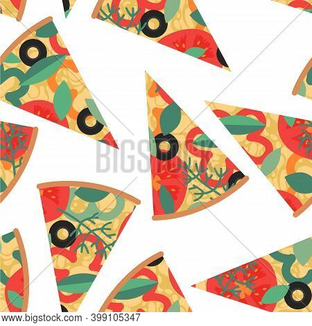 Seamless Pattern With Pizza Slices On White Background. Backdrop With Delicious Italian Meal, Appeti
