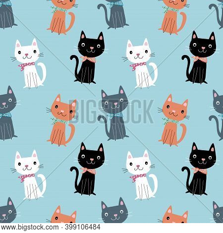 Seamless Pattern With Hand Drawn Cute Cartoon Sitting Cats With Kerchiev, Anime Style Isolated On Bl