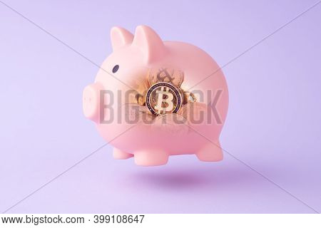Piggy Bank And Cryptocurrency Coin Bitcoin Inside. Symbol Of Investments, Saving Money. Growth Earni