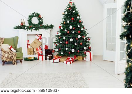 Beautiful Christmas Christmas Tree Interior With Gifts New Year Decor December