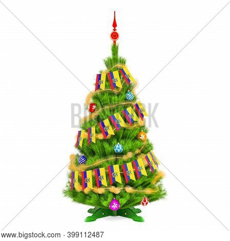 Christmas Tree With Ecuadorian Xmas Pennant Flags, 3d Rendering Isolated On White Background