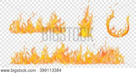 Set Of Translucent Burning Arc And Campfires Of Flames And Sparks On Transparent Background. For Use