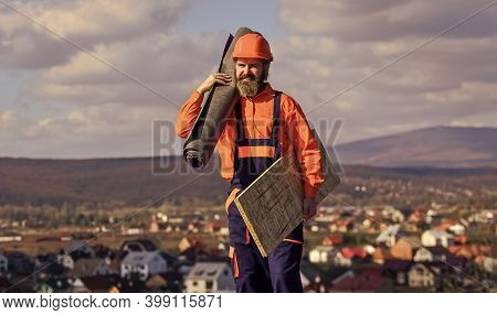 Fix Or Build. Provide Safe Access To Roof. Roofer Repair Roof. Roof Installation. Man Hard Hat Work