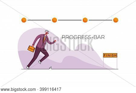 Vector Flat Illustration With Concept Of Progress Bar. Line Template Points For Evaluating Progress