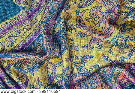 Texture Or Background Beautiful Hand Embroidered Shawl With A Pattern And Lurex Fashionable And Styl