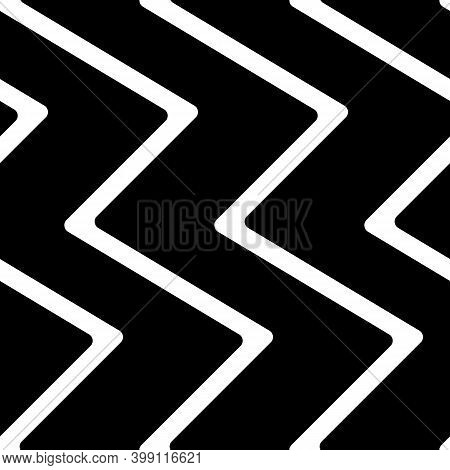Diagonal Zigzag Lines Seamless Pattern. Angled Jagged Stripes Ornament. Linear Waves Motif. Curves P