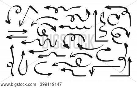 Arrow Hand Drawn Black Set Shapes Marker Design