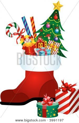 Christmas Boot With Gift Boxes