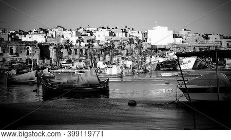 Cityscapes Of Marsaxlokk - A Small Village In Malta - Island Of Malta, Malta - March 5, 2020