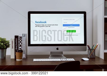 Bangkok, Thailand - December 12, 2020 : The Facebook Screen On Apple Imac Screen, Social Media Are U