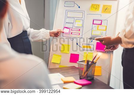 Mobile Application Designers Are Development On Smartphone And Pink Paper Note On Hand, Creative Ske