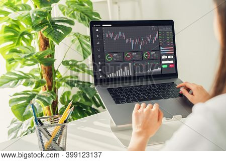 Stock Exchange Market Concept, Businesswoman Trader Looking Computer With Graphs Analysis Candle Lin