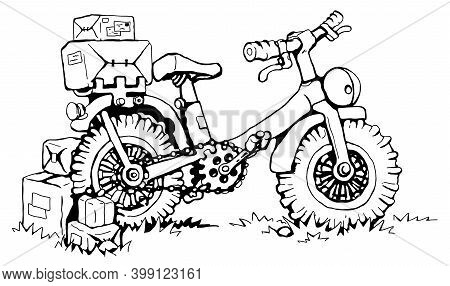 Sturdy Delivery Bicycle Cartoon Line Drawing, Vector, Horizontal, Black And White, Isolated