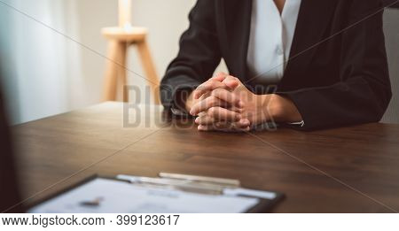 Businessman Submits Resume Employer To Review Job Application Information On The Desk, Presents The