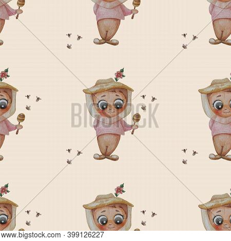 Seamless Patterns. Beekeeper Man. Cute Boy With A Honey Stick In A Beekeepers Hat With A Red Flower