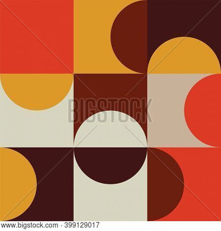 Yellow, red and brown retro shapes on multicoloured background. colour and shape concept digitally generated image.