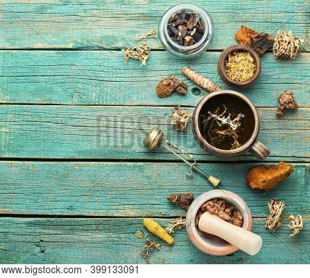 Tea And A Set Of Medicinal Herbs
