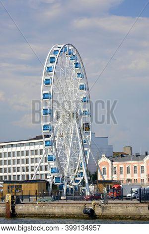Helsinki, Finland. July, 24, 2014 Helsinki Harbour From Waterside Ferris Wheel