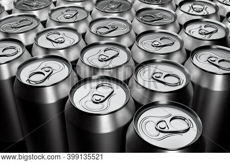 Group Of Silver Recyclable Aluminum Energy Drink Cans From Above Close Up Full Frame. 3d Rendering M