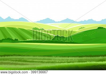 Hills And Meadows. Haymaking In Pastures. Agricultural Land. Green Grass. Mountains In The Distance.