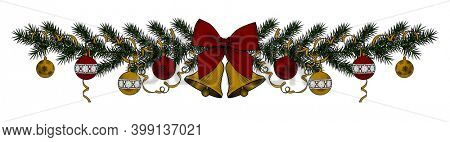 Baner of Christmas tree with bells and ribbon isolated on white.